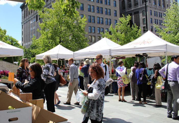 A farmers' market at Seattle's City Hall. (Photo CC-licensed by the Seattle City Council)