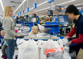 a family shops for groceries using SNAP and EBT during the coronavirus pandemic