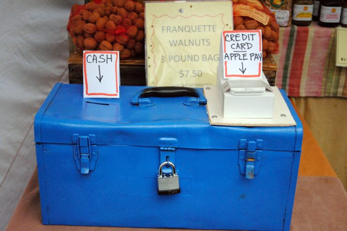 cash vs. electronic payment options at the farmers market