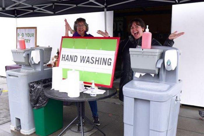 a handwashing station at the farmers market