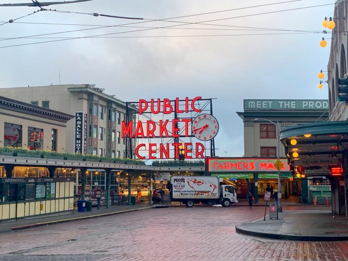 A nearly empty Pike Place Market in Seattle.