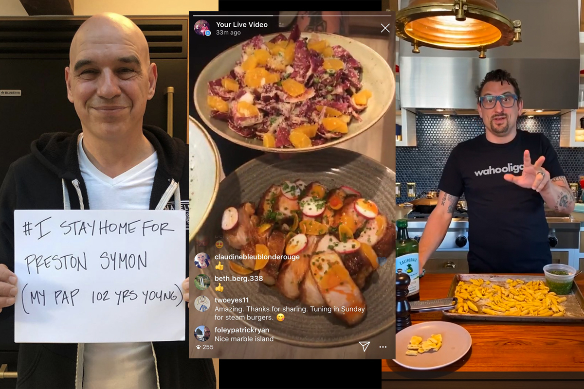 a montage of chefs teaching online cooking lessons