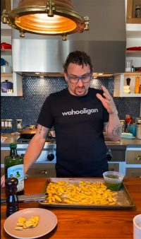 chef chris cosentino leading an online cooking lesson
