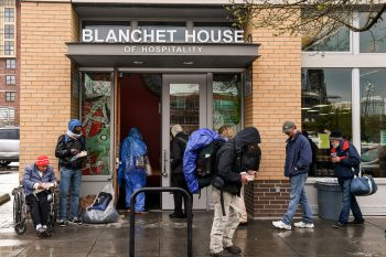 The line for Blanchet House's take-out meals. (Photo credit: Justin Katigbak)