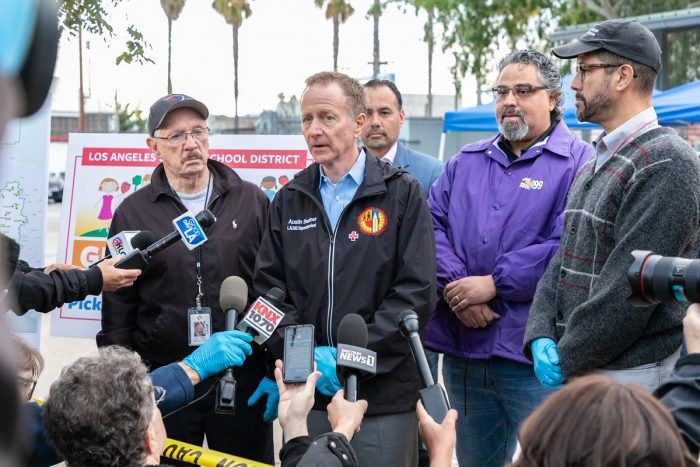 LAUSD superintendent Austin Beutner at a press conference during the first day of the district's grab-and-go meal program. (Photo credit: R Schorbach/Red Cross LA)