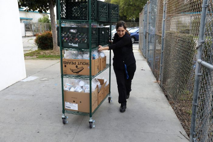 Vanessa Hatem, the Cafeteria manager at Canoga Park elementary school. (Photo credit: Jill Connelly/Red Cross LA)