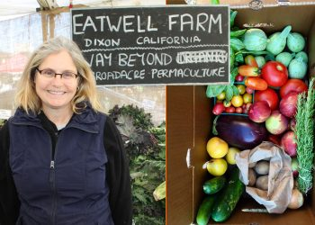 collage of lorraine walker from eatwell farm and a csa box they produced. (Photos courtesy of CUESA and Eatwell Farm)