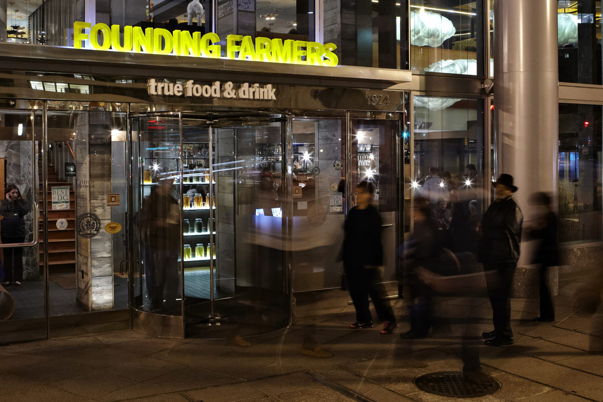 A line forms outside Founding Farmers grocery store. (Photo courtesy of Founding Farmers)