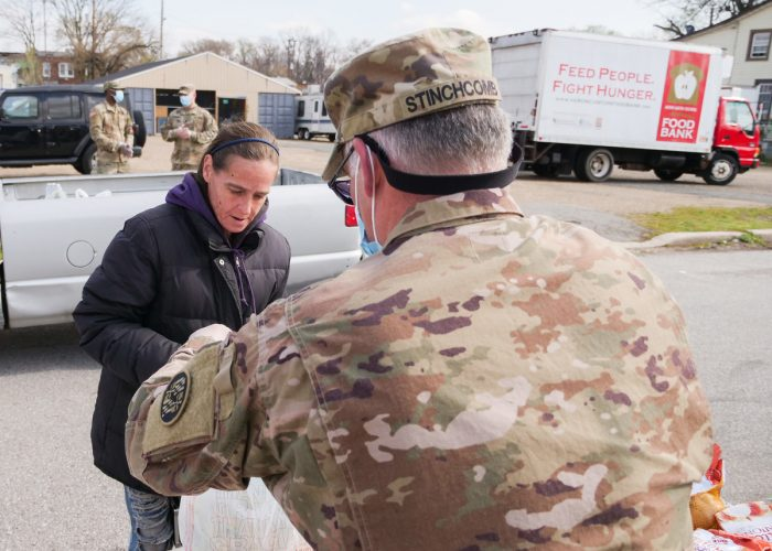 Maryland National Guard distributing food in Baltimore. (Photo CC-licensed by the Maryland National Guard)