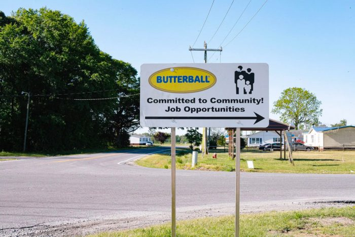 A sign pointing to the Butterball plant in Mount Olive, North Carolina. Photo by Victoria Bouloubasis