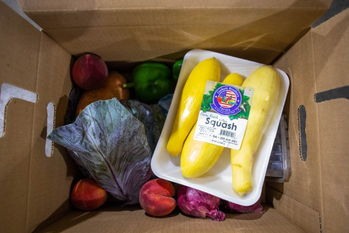 Squash, cabbage, peaches, peppers and other fresh, local food included in a USDA Farm Box (Photo by Emma Rolader for The Common Market)
