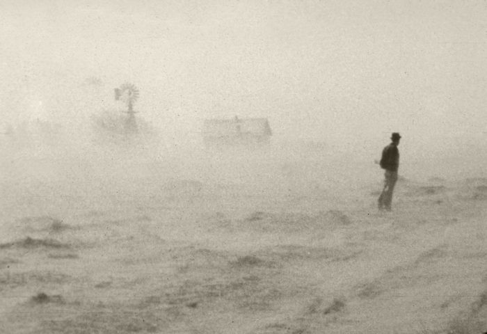 Wind erosion carries topsoil from farmland during the Dust Bowl, circa 1930s. (Photo credit: USDA)