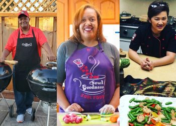 a collage of three different home chefs and home cooks who work as MEHKOs