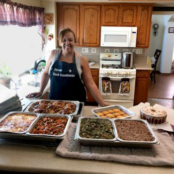 Home chef Denise Blackmon with some of the soul food she prepares for Soul Goodness. (Photo courtesy of Denise Blackmon)