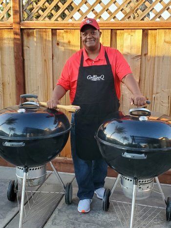 Home Chef Lee Thomas stands by his grills for GrilleeQ. (Photo courtesy of Lee Thomas)