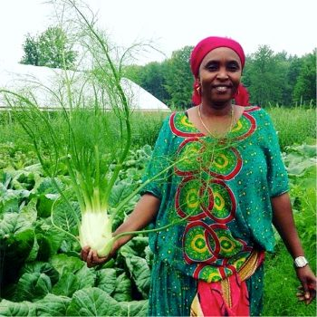 One of the Little Jubba farmers holding a fennel bulb.
