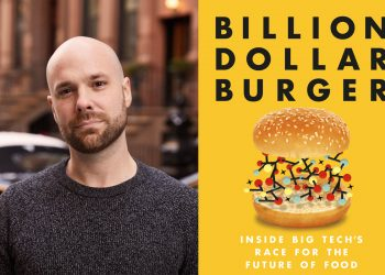 A collage of a photo of the author Chase Purdy and the cover of his new book, Billion Dollar Burger