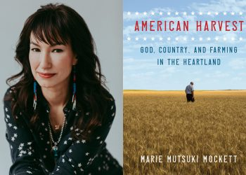A collage of photos of author marie mutsui mockett and the cover of her new book, american harvest