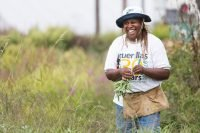 Karen Washington in her urban farm. Photo courtesy of Bioneers.