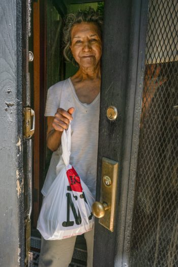 A meal recipient in Sunset Park.