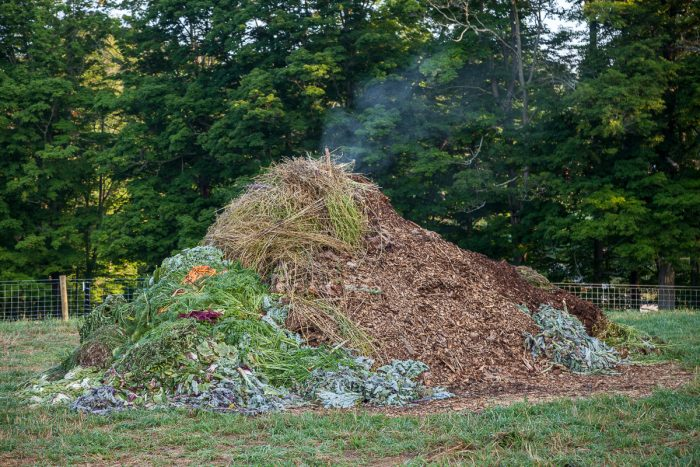 Woven Roots Farm's compost pile