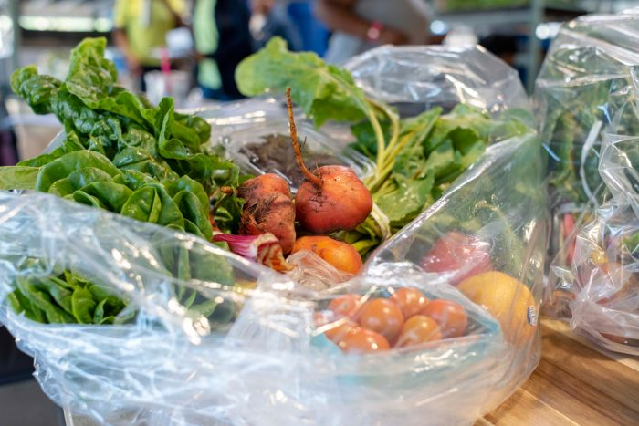 A sample bag of produce fromthe Veggie RX Produce Prescription Program. (Photo courtesy of the Chicago Botanical Garden)