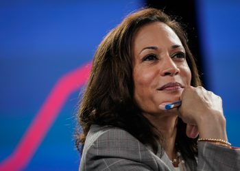 Sen. Kamala Harris (D-CA), running mate of Presumptive Democratic presidential nominee former Vice President Joe Biden, attends a coronavirus briefing at a makeshift studio at the Hotel DuPont on August 13, 2020 in Wilmington, Delaware.