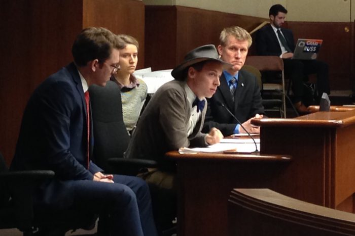 Eric Sannerud (center), a farmer at Mighty Axe Hops and former president of the Central Minnesota chapter of the National Young Farmers Coalition (NYFC), addressing legislators in his state regarding 2017's Beginning Farmer Tax Credit bill. (Credit: Central Minnesota NYFC chapter)