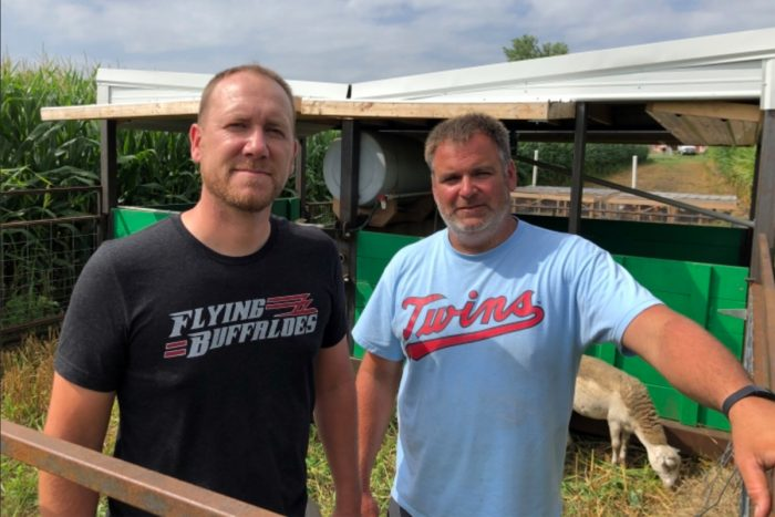 Zach Smith, left, and his friend Sheldon Stevermer, a southern Minnesota farmer and co-designer of the system. Photo by Jordan Newton