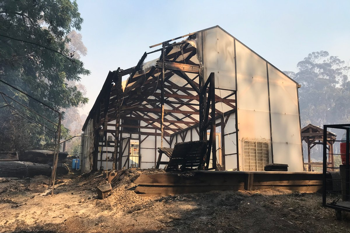 A barn at Pie Ranch in Pescadero has burned down during the 2020 California wildfires. (Photo credit: Nancy Vail)