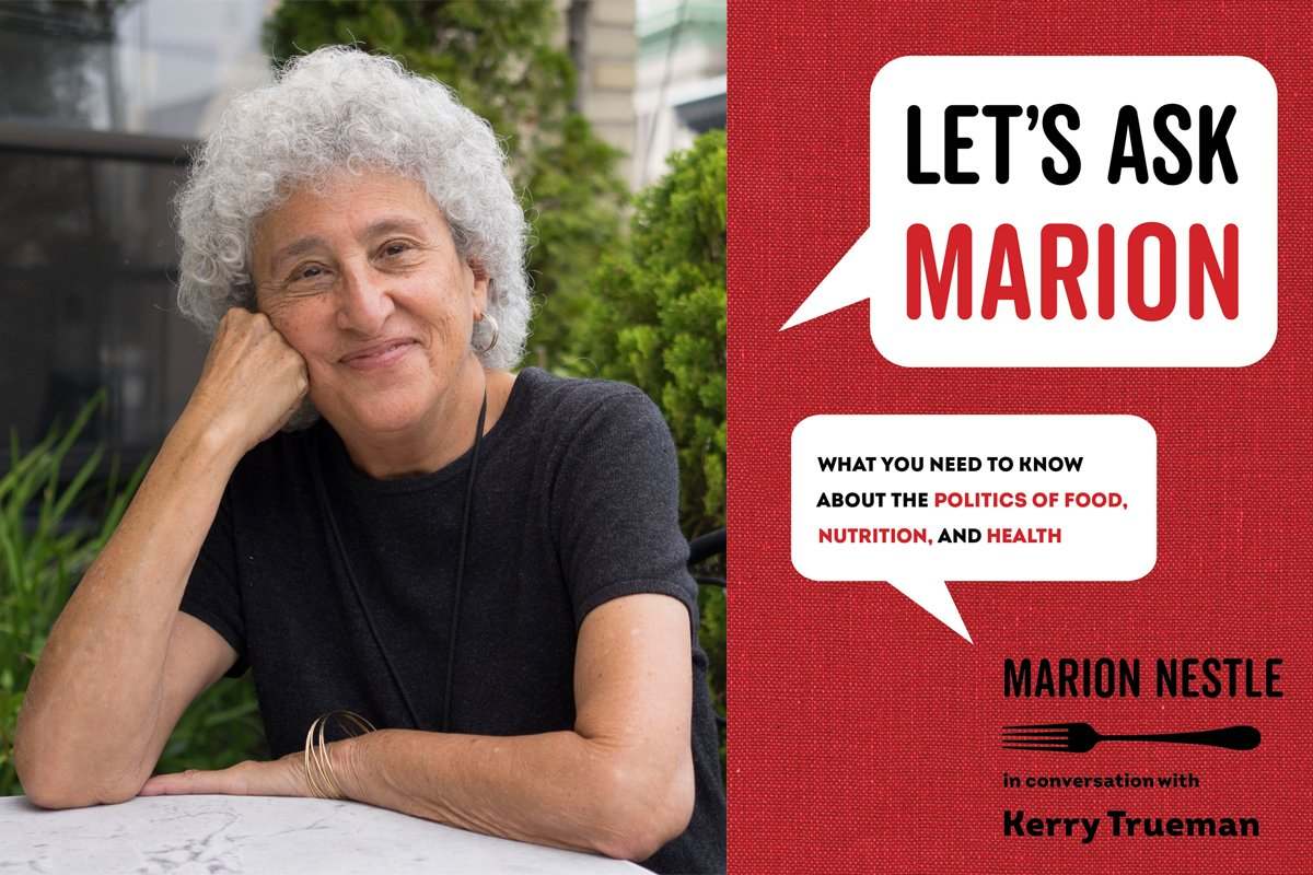 marion nestle and the cover of her new book, let's ask marion