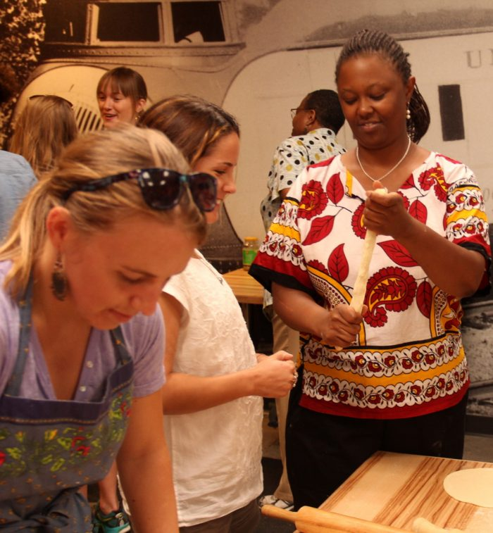 Wambui Machua of Spice of Africa, leading a cooking demonstration. (Photo courtesy of Spice of Africa)