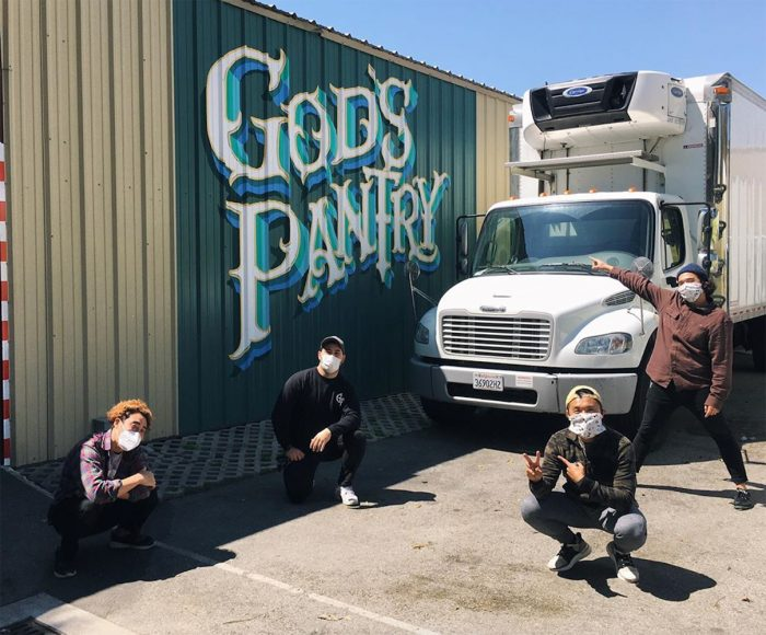 From left: Danny Park of Skid Row Coffee and Skid Row People's Market, Goose Dolce of God's Pantry, and Alex Yoon and Ray Ricafort of Eayikes, loading up food deliveries. (Photo courtesy of Polo's Pantry)