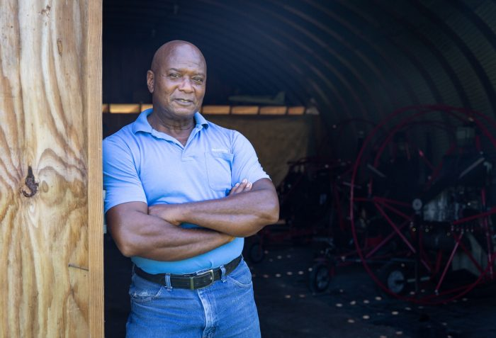 Sylvester 'Sly' Hill Sr. in his hanger on the Hill Family Farm in Edgecombe County, N.C. (Photo © Hanna Wondmagegn)