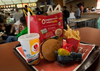 A healthy happy meal inside a mcdonald's restaurant in San Francisco, California.