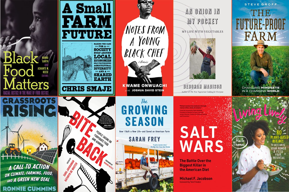 a collage of holiday book gift guide covers for books on food and farming