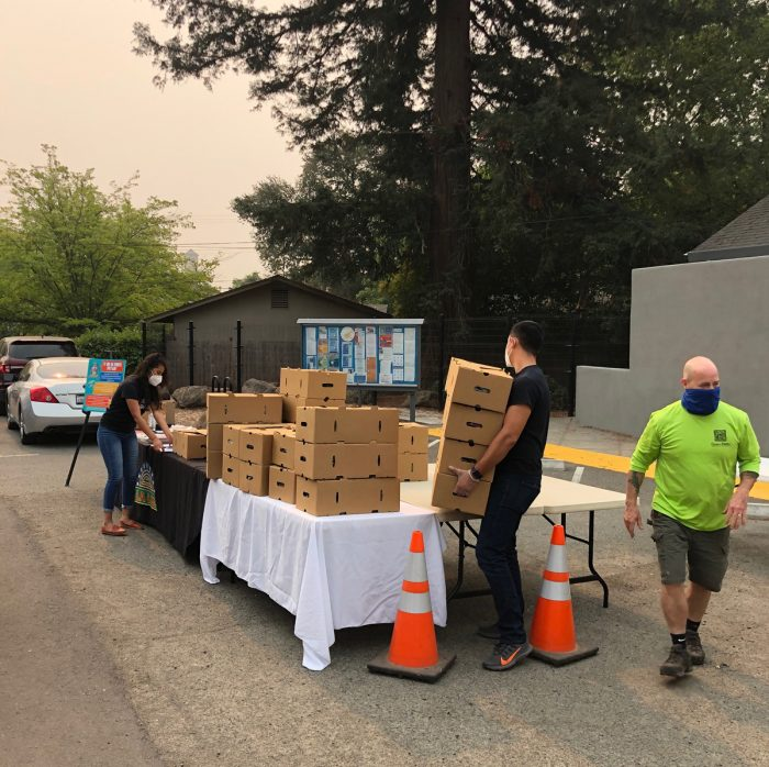 Preparing food for distribution at Feed Sonoma. (Photo credit: Feed Sonoma)