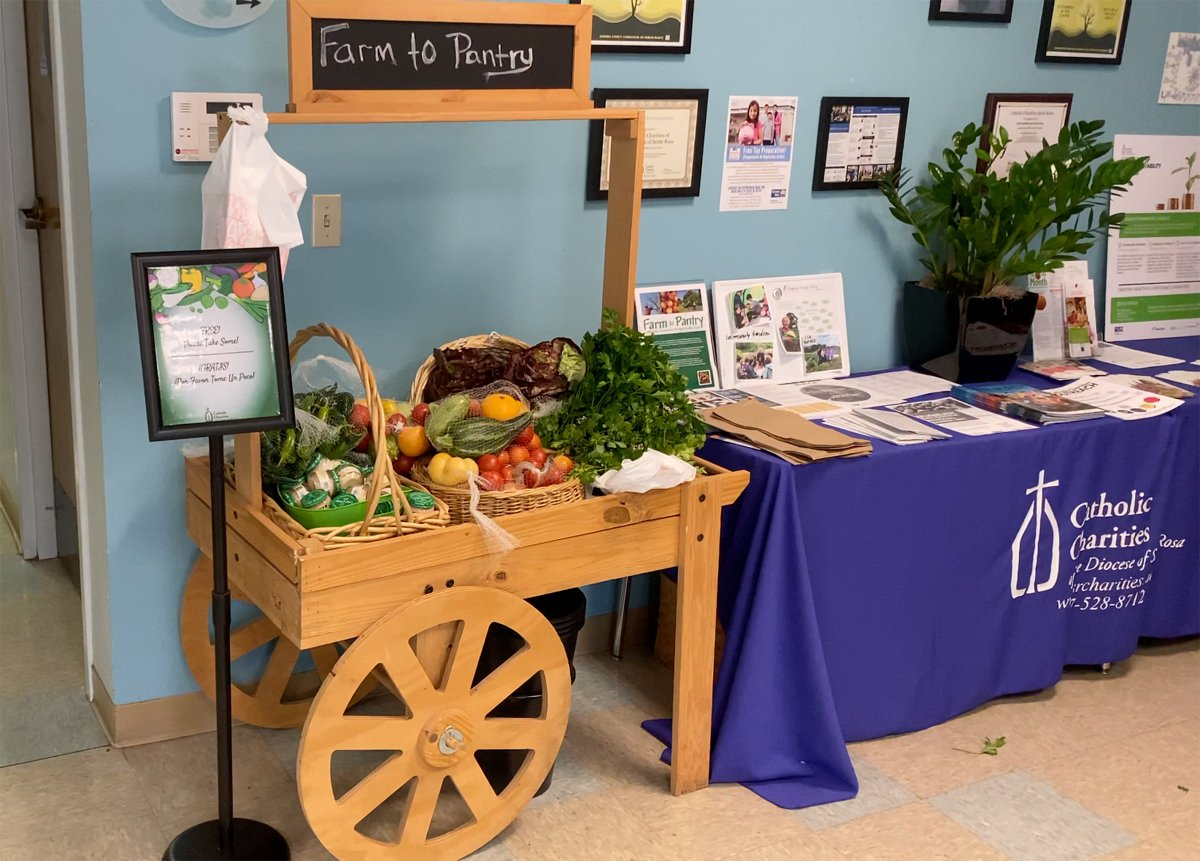 a table of freshly gleaned produce for church visitors