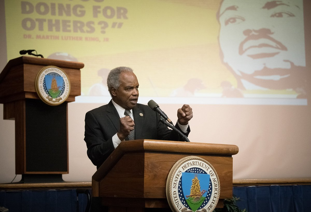 Congressman David Scott, presents the keynote speech of the USDA Martin Luther King Jr. National Day of Service Award Ceremony in Washington D.C., on Thursday, January 11, 2018. (USDA photo by Lance Cheung)