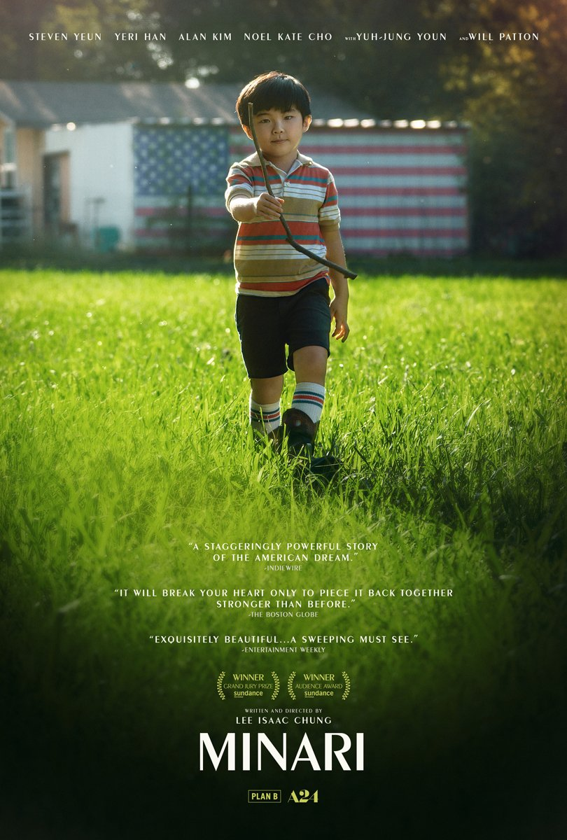 A poster from the film minari showing an asian american boy in a farm field
