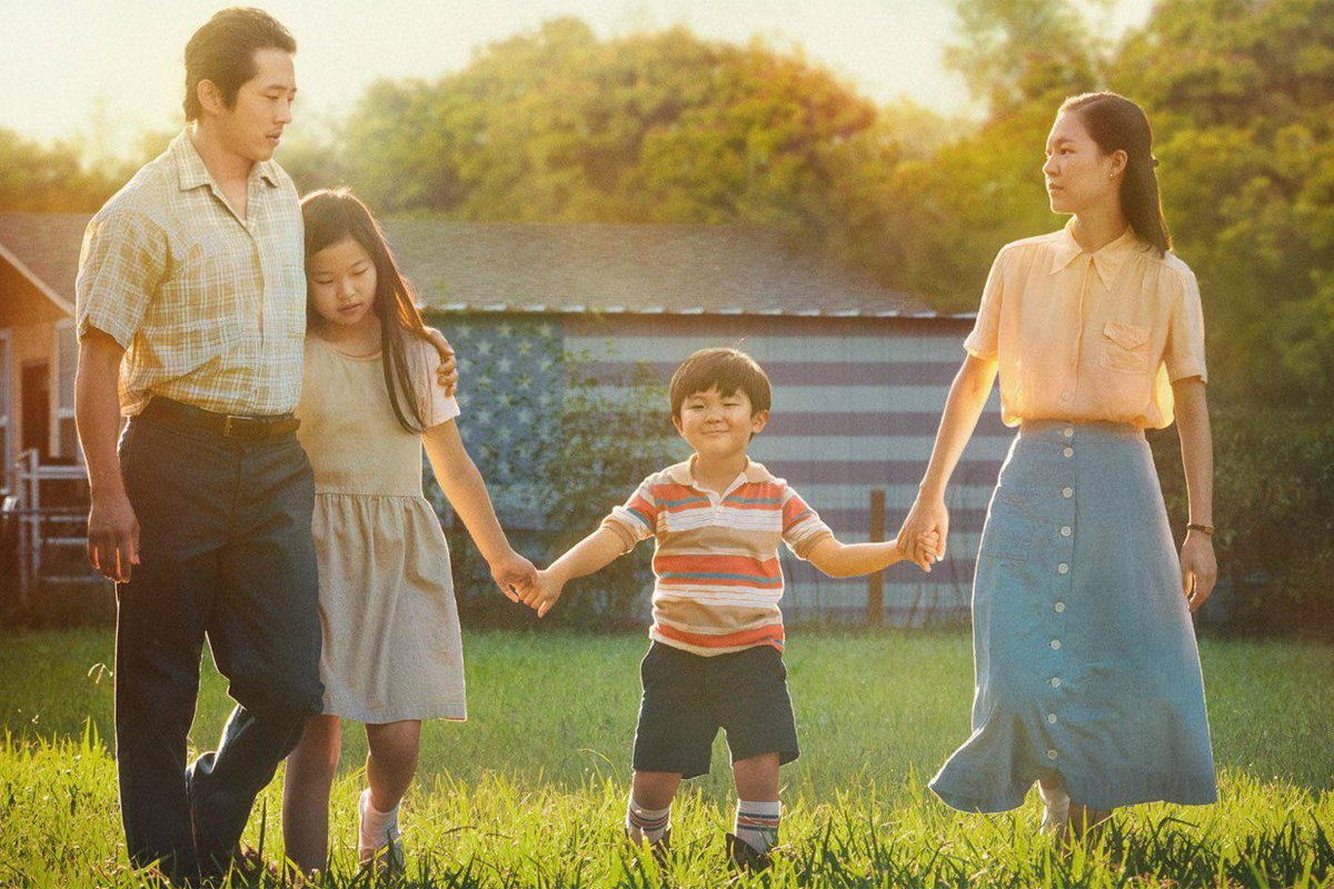 A cropped version of the Minari poster showing an asian american farm family. Poster courtesy of A24