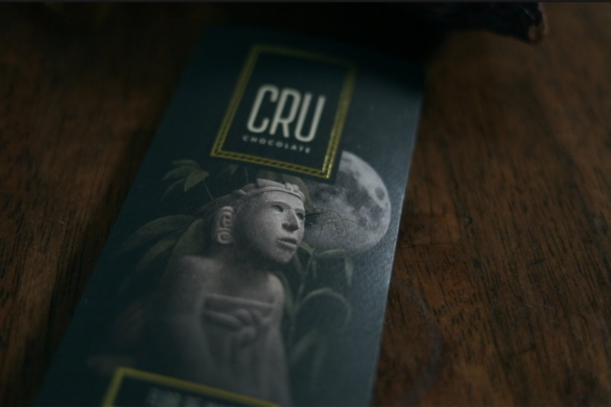 the packaging for a bar of cru chocolate