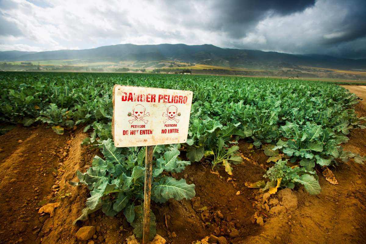 Poison pest control chemicals sprayed on a field in the Salinas Valley, California.