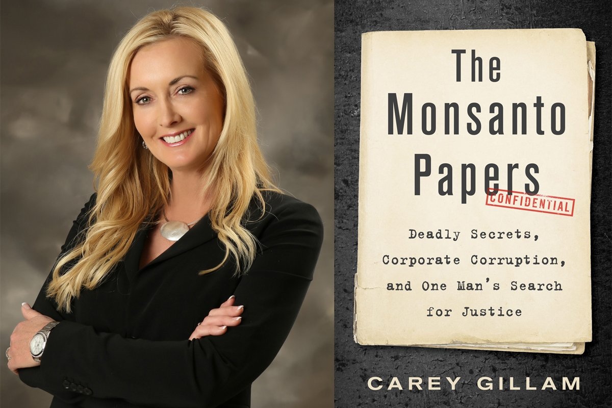A collage of Carey Gillam headshot and the cover of her book the Monsanto Papers