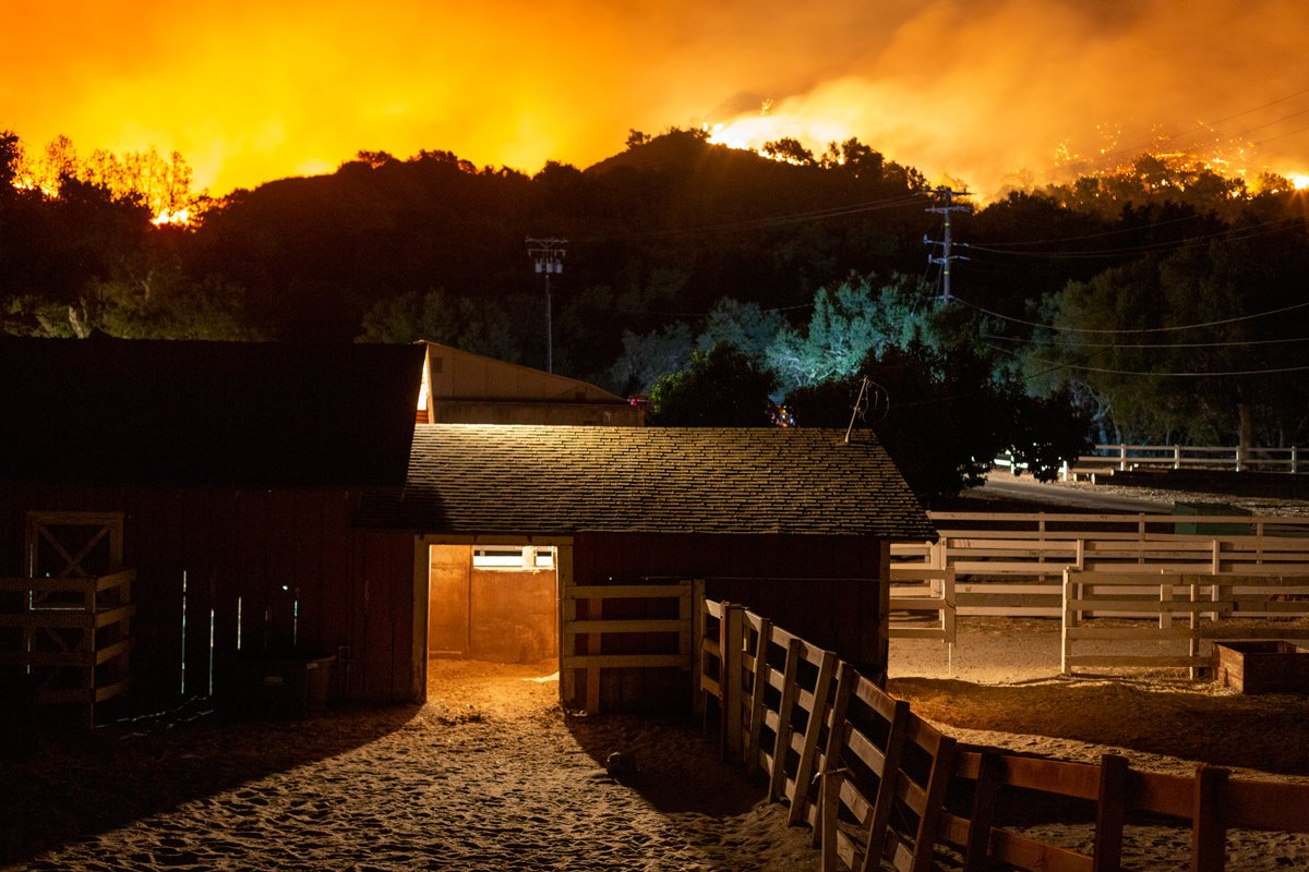 A ranch is threatened by the Maria Fire as it explodes to 8,000 acres on its first night on November 1, 2019 near Somis, California. (Photo by David McNew/Getty Images)
