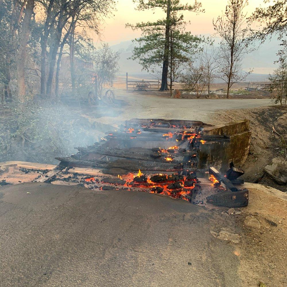 A burning bridge on Scott Newman's farm. (Photo courtesy of Scott Newman)