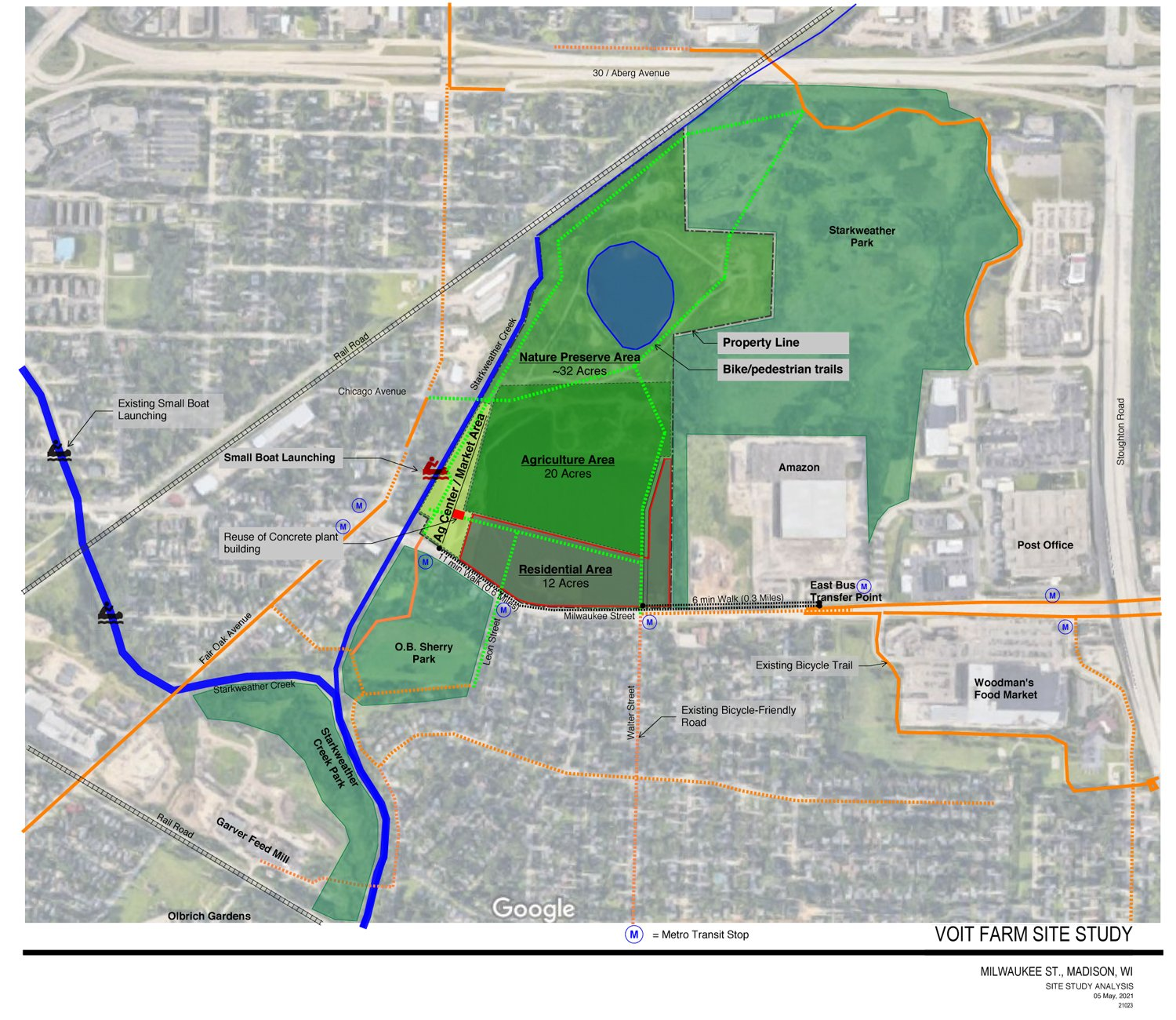 a map of the proposed Voitlandia farm agrihood site, and an overlay of architectural design options for the future site. (Photos courtesy of Save the Farm)