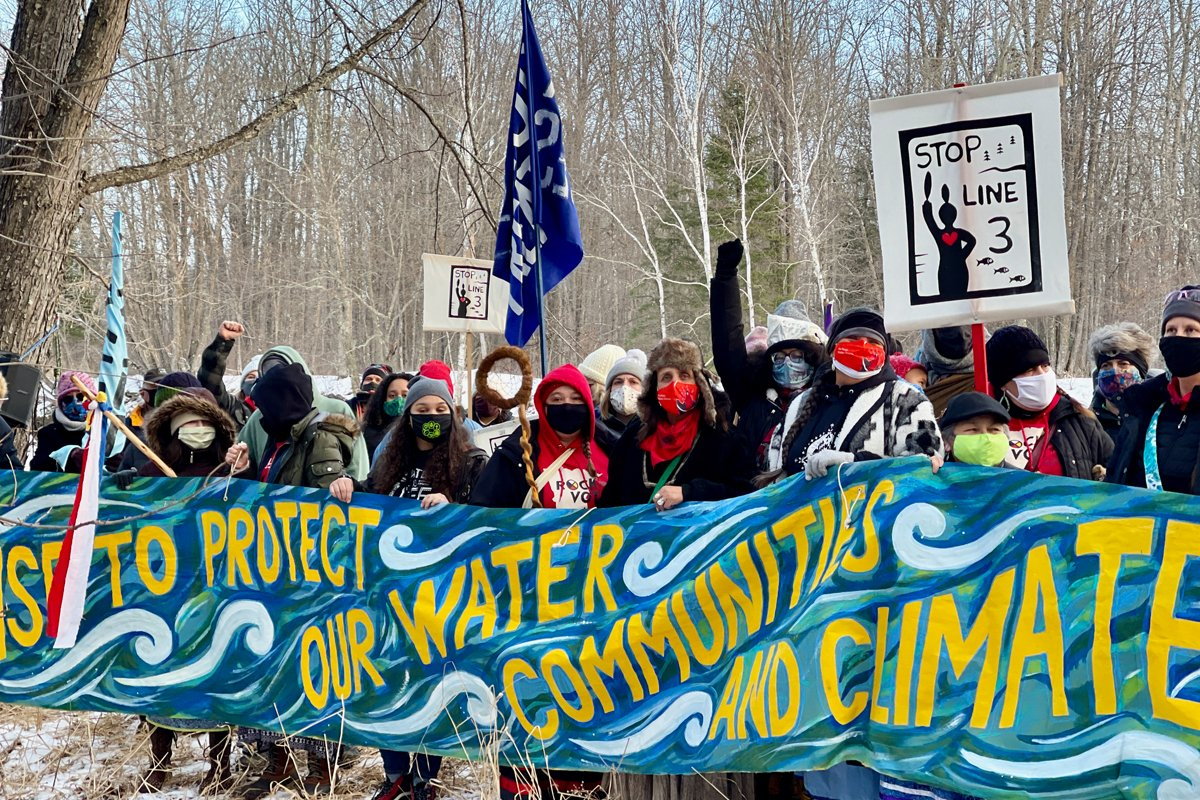 Water protectors protesting Enbridge Line 3. (Photo by Sarah LittleRedfeather, Honor the Earth)