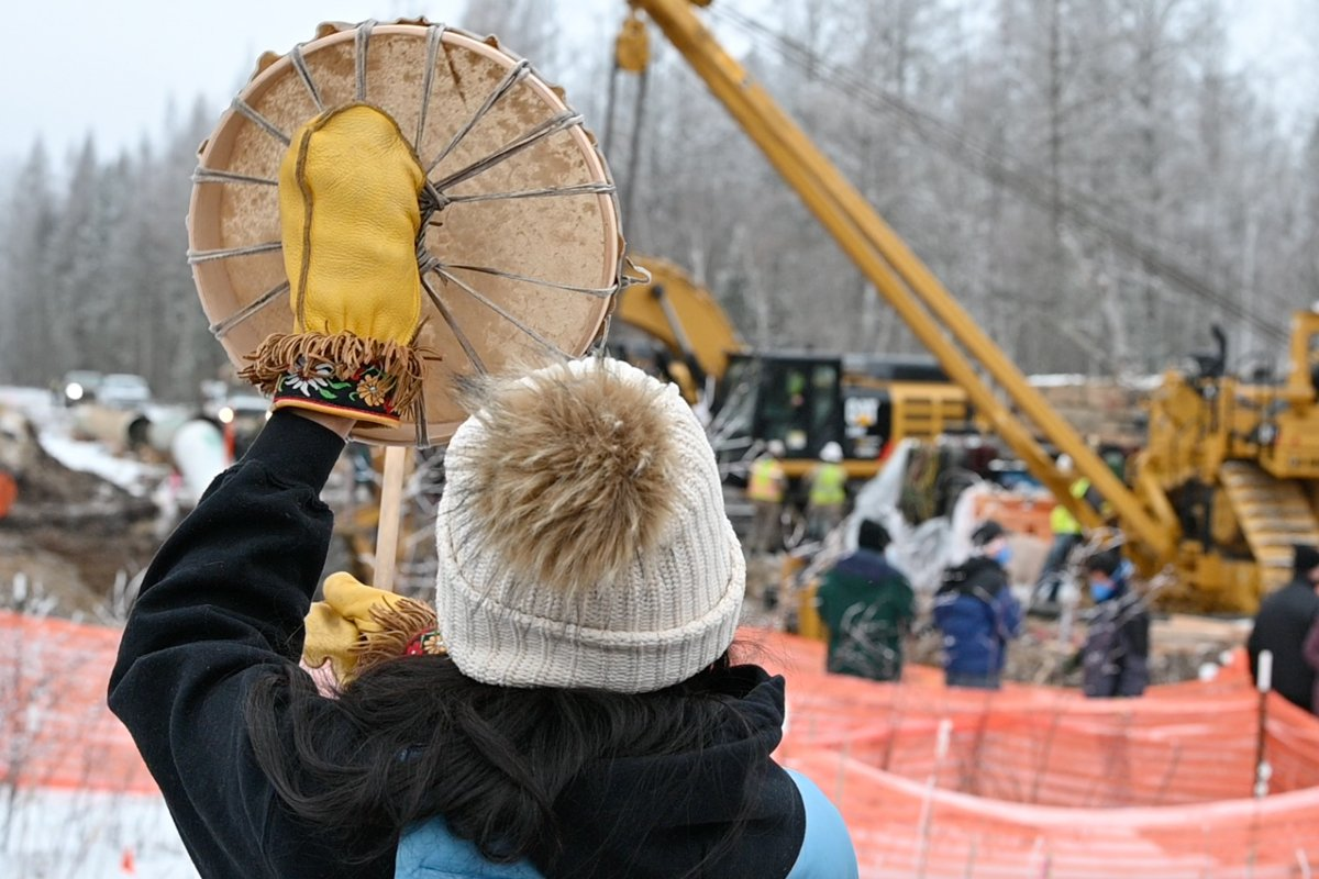 Protesting Enbridge Line 3. (Photo credit: Sarah LittleRedfeather, Honor the Earth)