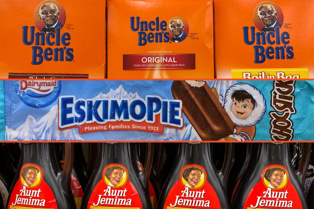 a collage of racist food packaging on supermarket shelves